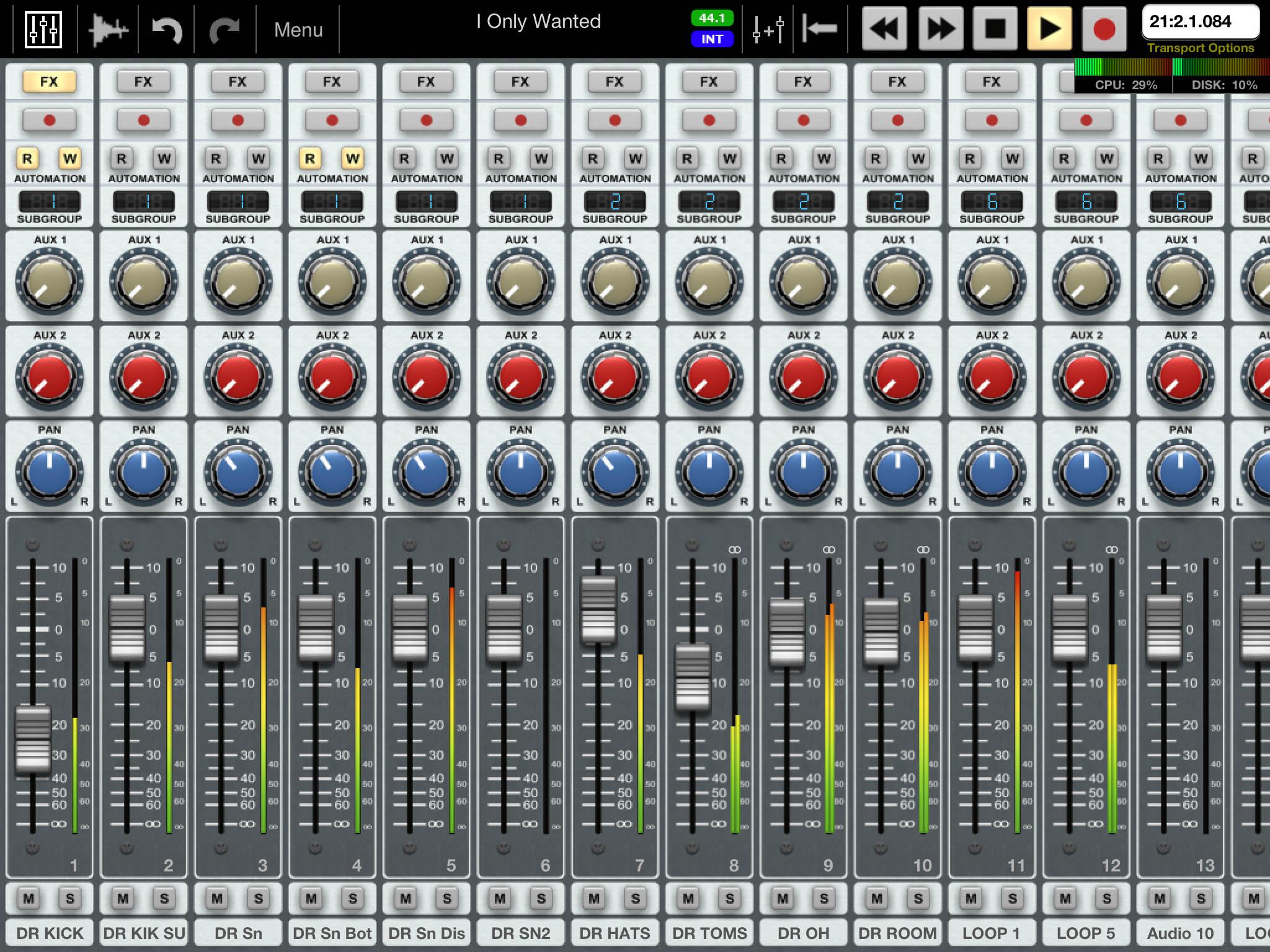 Virtual Mixer Software Auria Mix Window