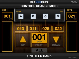 blueboard midi control change mode main view 300x225 iRig BlueBoard review – wireless MIDI pedalboard controller for iOS from IK Multimedia
