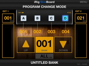 blueboard midi program change mode main view 300x225 iRig BlueBoard review – wireless MIDI pedalboard controller for iOS from IK Multimedia