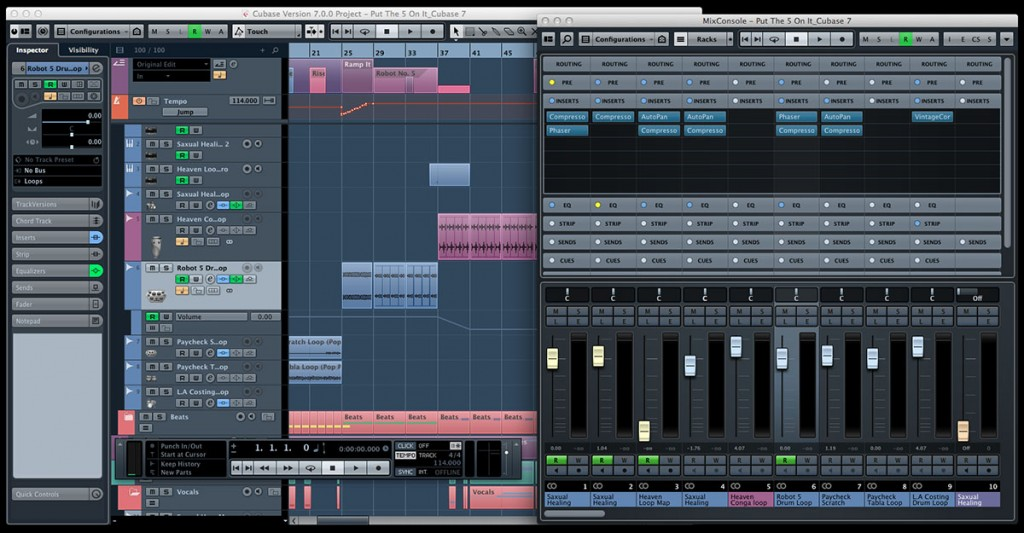 Cubase screen grab 1024x533 Building an iPad recording studio; Part 1 – The evolution of the home recording studio